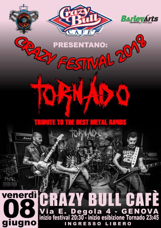 Locandina Tornado al Crazy Festival 2018, venerdì 8 Giugno 2018