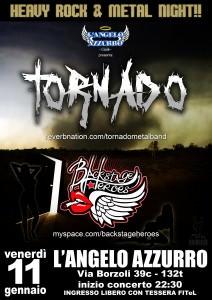 2013.01.11 - Locandina Tornado + Backstage Heroes - L'Angelo Azzurro Club